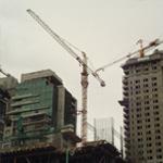 Башенные краны, строительство комплекса зданий